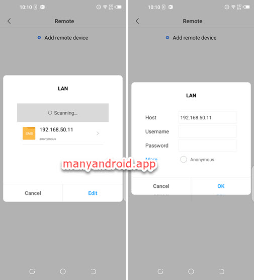 access smb server in LAN from android mobile phone using mi file manager app