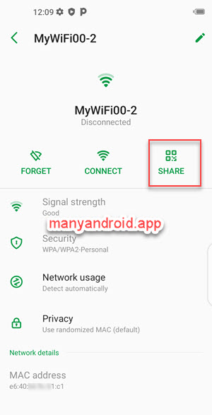 Share Wi-Fi network via QR code from Infinix phone
